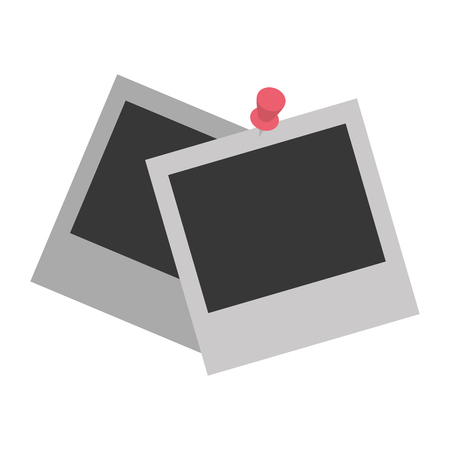 picture frames pin on white background vector illustration design