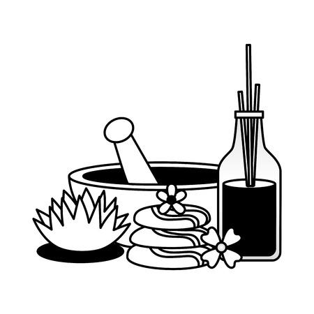 Schüssel Aromatherapie-Sticks Steine Blumen Spa-Behandlung Therapie-Vektor-Illustration