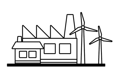 factory building house wind turbines ecology vector illustration Illustration