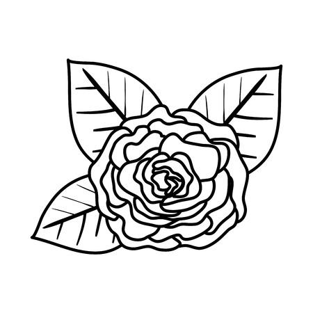rose with leafs icon vector illustration design Archivio Fotografico - 123231794