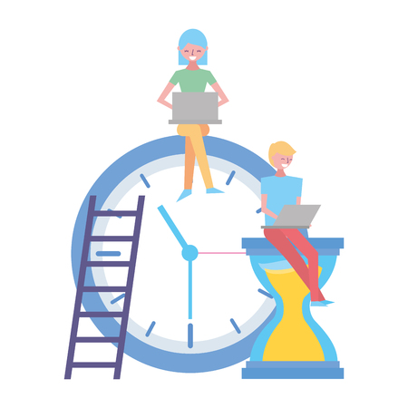 people working with laptop clock time vector illustration Ilustração