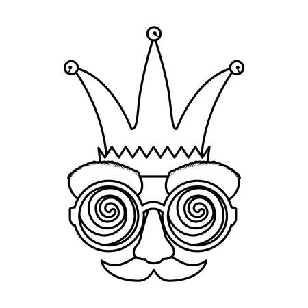 fools day mask glasses and mustache with joker hat vector illustration design Illustration