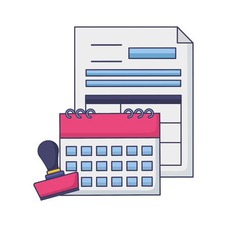 calendar report paid stamp tax payment vector illustration Stock Illustratie