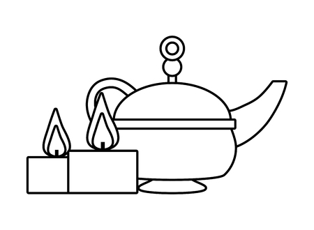 indian tea pot candles traditional vector illustration design Çizim