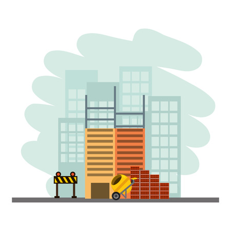 building construction concrete mixer bricks barricade vector illustration 版權商用圖片 - 123231856
