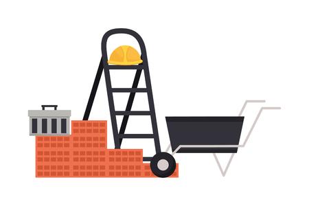 wheelbarrow stairs wall brick helmet box construction equipment vector illustration Standard-Bild - 123231865