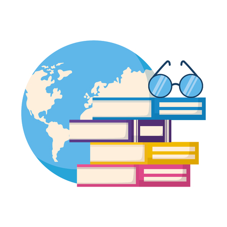 stack of books with lenses isolated icon vector illustration design Ilustrace