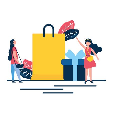femmes en ligne, sac shopping, cadeau, vecteur, illustration