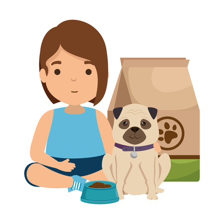 cute little girl with puppy and food bag vector illustration design