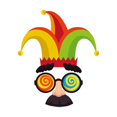 Día de los tontos gafas de máscara y bigote con sombrero joker, diseño de ilustraciones vectoriales