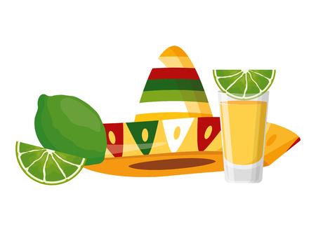 cappello messicano tequila shot lime illustrazione vettoriale Vettoriali