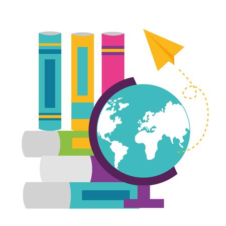 globe books paper plane school supplies vector illustration design