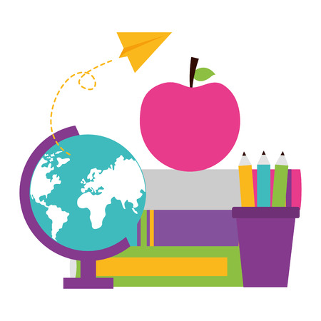 globe books pencils apple school supplies vector illustration design