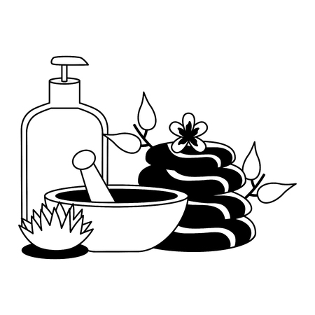 gel bowl stones product care flower spa therapy treatment vector illustration Illustration