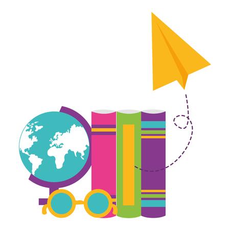 map books eyeglasses paper plane school supplies vector illustration design