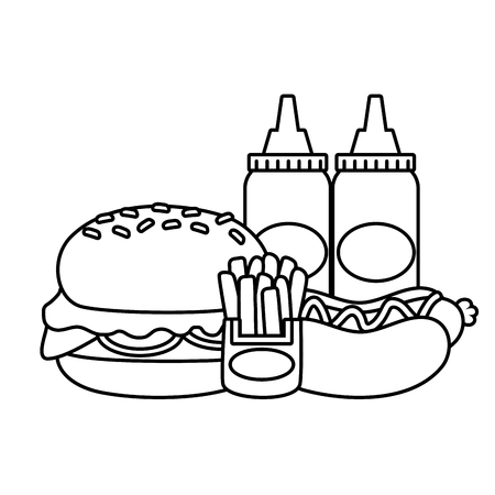 burger hot dog french fries and sauces fast food vector illustration Stock Vector - 123231936