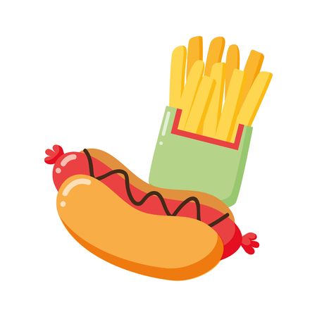 hot dog and french fries on white background vector illustration Çizim
