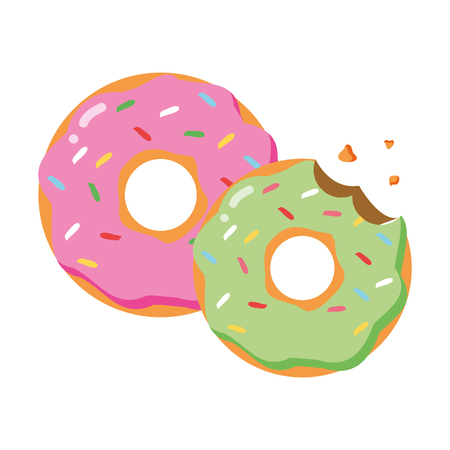 sweet donuts food on white background vector illustration