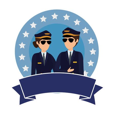 Pilotos de aviación pareja avatares personajes, diseño de ilustraciones vectoriales