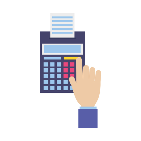 hand with calculator printed receipt tax payment vector illustration
