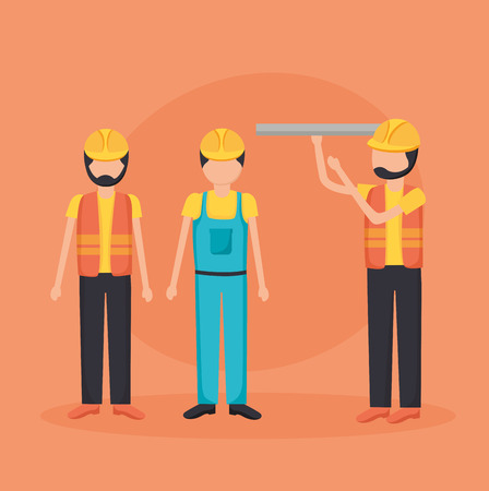 construction workers with blueprint tool vector illustration Illustration