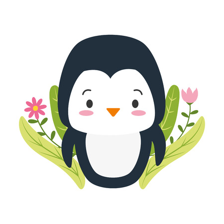 cute penguin cartoon flowers leaves vector illustration design 版權商用圖片 - 123231989