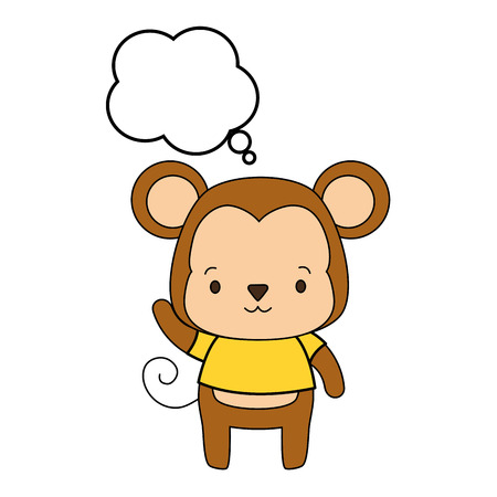 cute monkey cartoon speech bubble vector illustration design Çizim