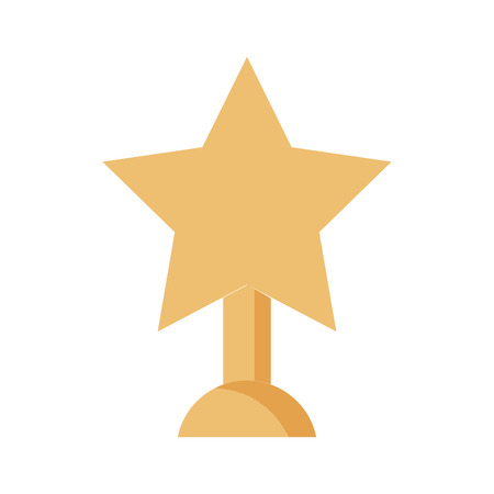 trophy in with star isolated icon vector illustration design