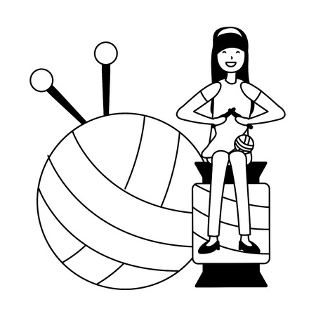 woman knitting sitting on a ball of yarn vector illustration