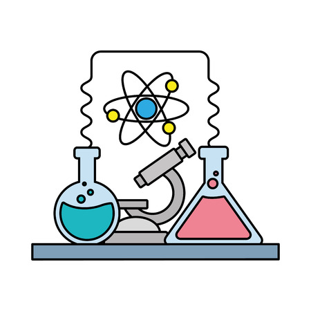 science laboratory tools test tube microscope vector illustration Ilustração