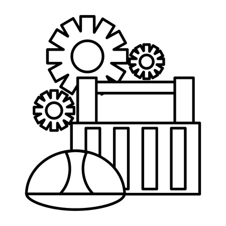 toolbox helmet gears construction tool vector illustration 向量圖像