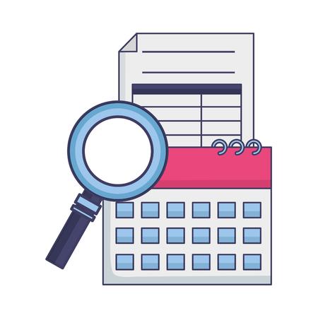 tax payment document calendar magnifier vector illustration