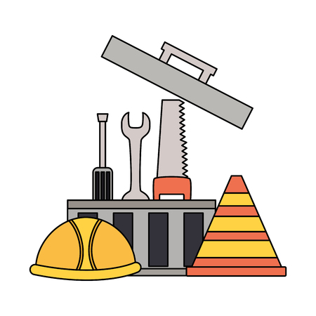 toolbox helmet tools construction equipment vector illustration Reklamní fotografie - 123232105