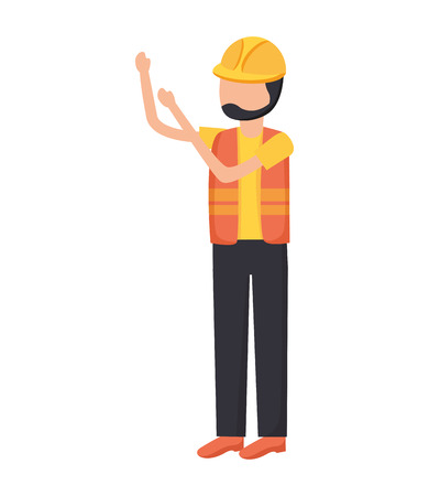 worker construction with helmet and vest vector illustration Иллюстрация