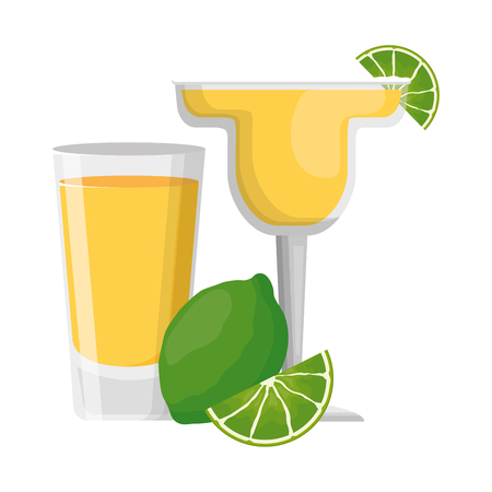 cocktail drink liquor with lime vector illustration Illustration