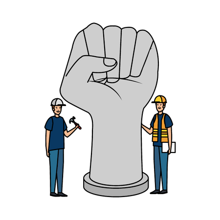 builders workers with helmets and hand fist vector illustration design