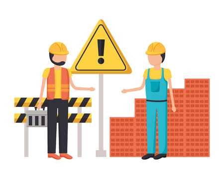 workers construction bricks barricade warning equipment vector illustration