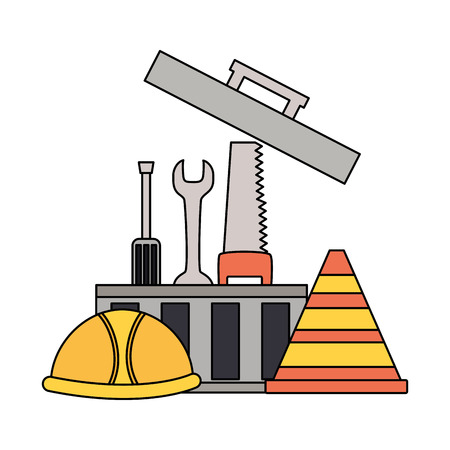 toolbox helmet tools construction equipment vector illustration
