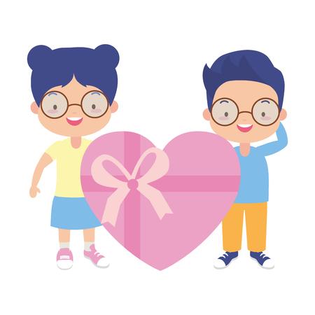 boy and girl gift heart surprise vector illustration Illustration