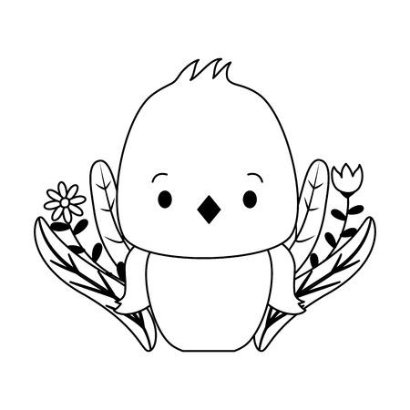 cute chicken cartoon flower leaves vector illustration design Foto de archivo - 123232201