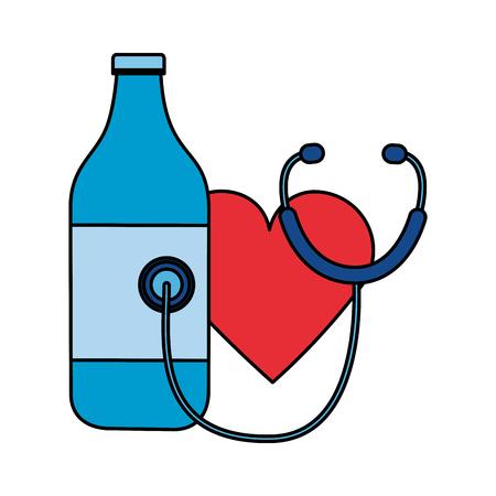 heart stethoscope bottle world health day vector illustration Vektorové ilustrace