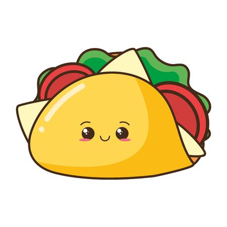 Ilustración de vector de comida rápida de taco de dibujos animados kawaii Ilustración de vector