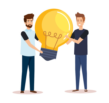 couple men with bulb characters vector illustration design