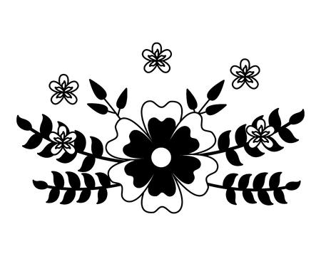 flowers leaves foliage decoration ornate vector illustration