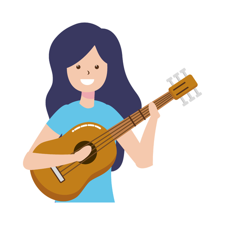 woman playing guitar - my hobby vector illustration Çizim