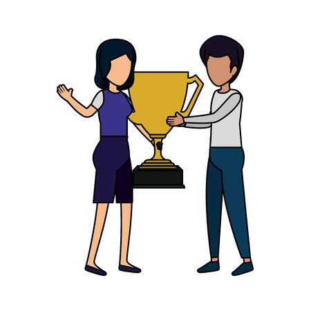 Couple avec trophée coupe design illustration vectorielle