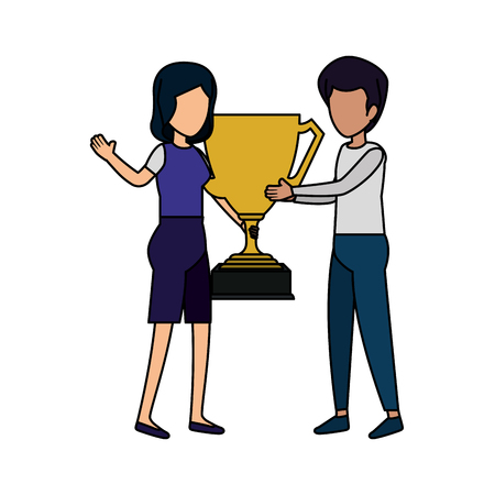 couple with trophy cup award vector illustration design