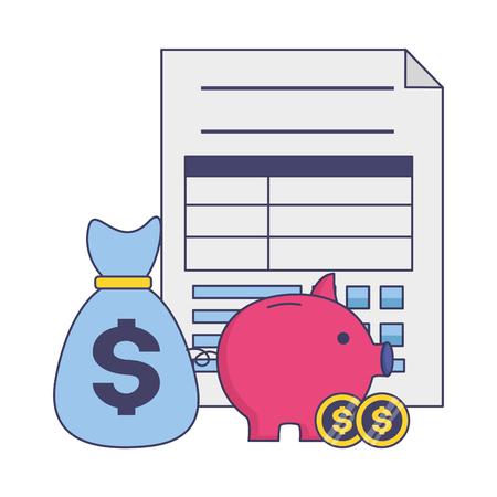 piggy bank money bag form tax time payment vector illustration