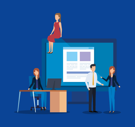 professional businesspeople with computer document and candidate vector illustration