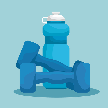 water bottle and dumbbells to exercise balance vector illustration